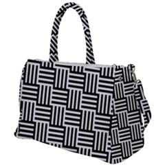 Black And White Basket Weave Duffel Travel Bag