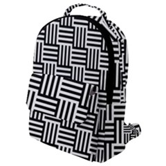 Black And White Basket Weave Flap Pocket Backpack (Small)
