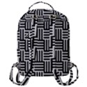 Black And White Basket Weave Flap Pocket Backpack (Large) View3