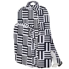Black And White Basket Weave Double Compartment Backpack