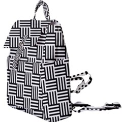 Black And White Basket Weave Buckle Everyday Backpack