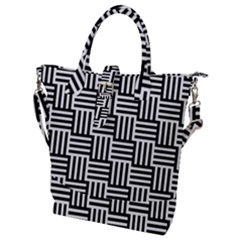 Black And White Basket Weave Buckle Top Tote Bag