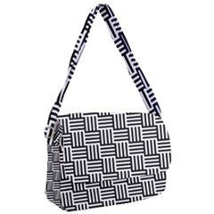 Black And White Basket Weave Courier Bag by retrotoomoderndesigns