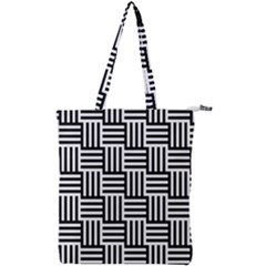 Black And White Basket Weave Double Zip Up Tote Bag