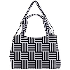 Black And White Basket Weave Double Compartment Shoulder Bag