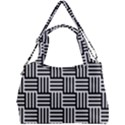 Black And White Basket Weave Double Compartment Shoulder Bag View1