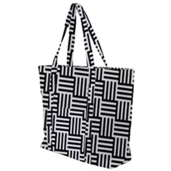 Black And White Basket Weave Zip Up Canvas Bag