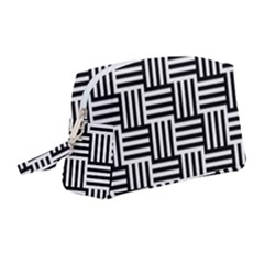 Black And White Basket Weave Wristlet Pouch Bag (Medium)