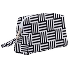 Black And White Basket Weave Wristlet Pouch Bag (Large)