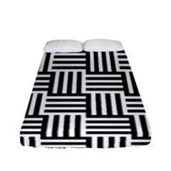 Black And White Basket Weave Fitted Sheet (full/ Double Size)