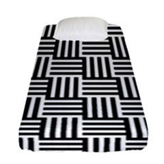 Black And White Basket Weave Fitted Sheet (Single Size)