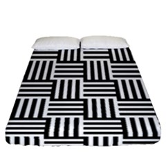 Black And White Basket Weave Fitted Sheet (Queen Size)