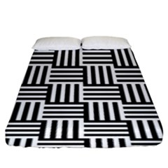 Black And White Basket Weave Fitted Sheet (King Size)