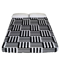 Black And White Basket Weave Fitted Sheet (California King Size)
