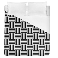 Black And White Basket Weave Duvet Cover (Queen Size)