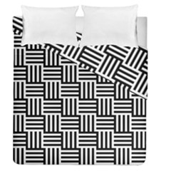 Black And White Basket Weave Duvet Cover Double Side (Queen Size)