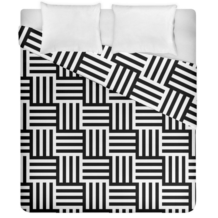 Black And White Basket Weave Duvet Cover Double Side (California King Size)