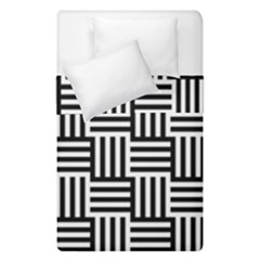 Black And White Basket Weave Duvet Cover Double Side (Single Size)