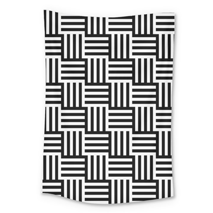 Black And White Basket Weave Large Tapestry
