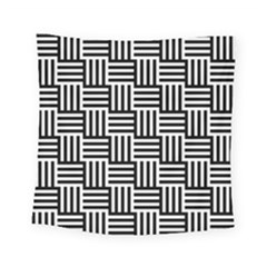 Black And White Basket Weave Square Tapestry (Small)