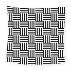 Black And White Basket Weave Square Tapestry (Large)