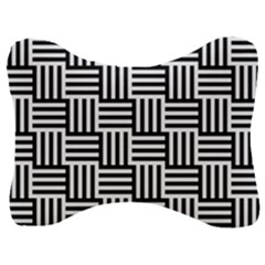 Black And White Basket Weave Velour Seat Head Rest Cushion