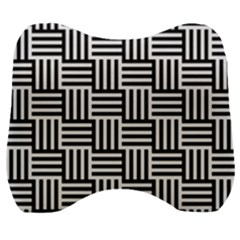 Black And White Basket Weave Velour Head Support Cushion