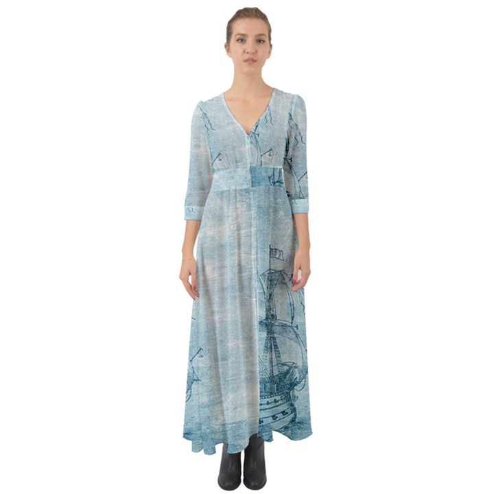 Sail Away - Vintage - Button Up Boho Maxi Dress