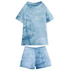 Sail Away   Vintage   Kids  Swim Tee And Shorts Set by WensdaiAddamns