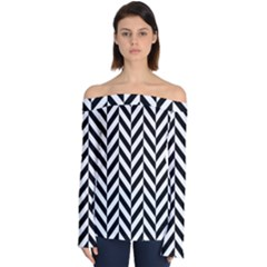 Black And White Herringbone Off Shoulder Long Sleeve Top