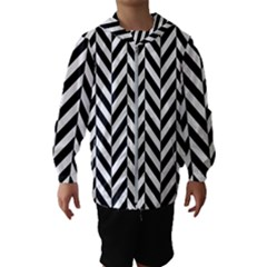 Black And White Herringbone Hooded Windbreaker (kids)