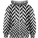 Black And White Herringbone Kids  Zipper Hoodie Without Drawstring View1