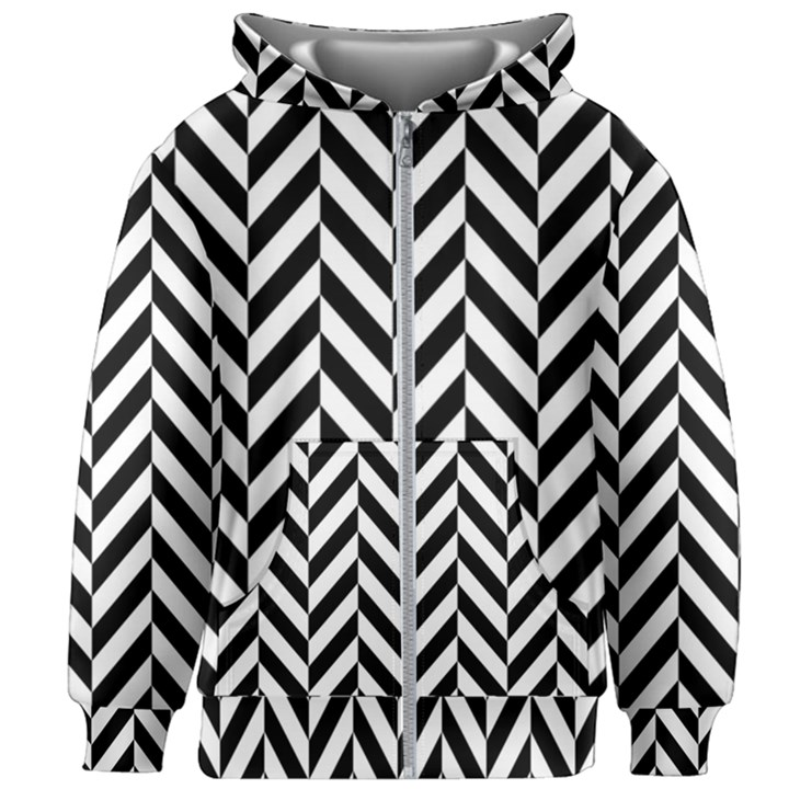 Black And White Herringbone Kids  Zipper Hoodie Without Drawstring