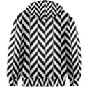 Black And White Herringbone Kids  Zipper Hoodie Without Drawstring View2
