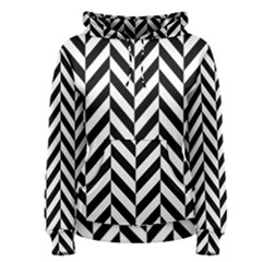 Black And White Herringbone Women s Pullover Hoodie