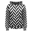 Black And White Herringbone Women s Pullover Hoodie View1