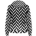 Black And White Herringbone Women s Pullover Hoodie View2