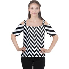 Black And White Herringbone Cutout Shoulder Tee