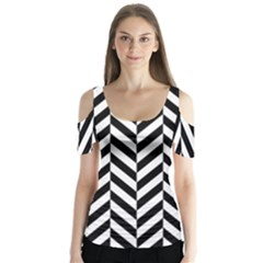 Black And White Herringbone Butterfly Sleeve Cutout Tee