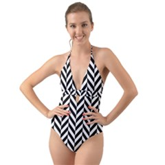 Black And White Herringbone Halter Cut Out One Piece Swimsuit by retrotoomoderndesigns