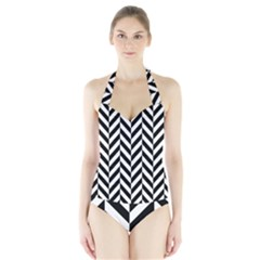 Black And White Herringbone Halter Swimsuit