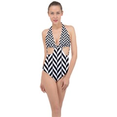 Black And White Herringbone Halter Front Plunge Swimsuit