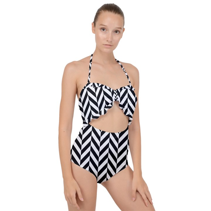 Black And White Herringbone Scallop Top Cut Out Swimsuit