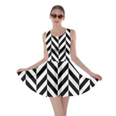 Black And White Herringbone Skater Dress by retrotoomoderndesigns