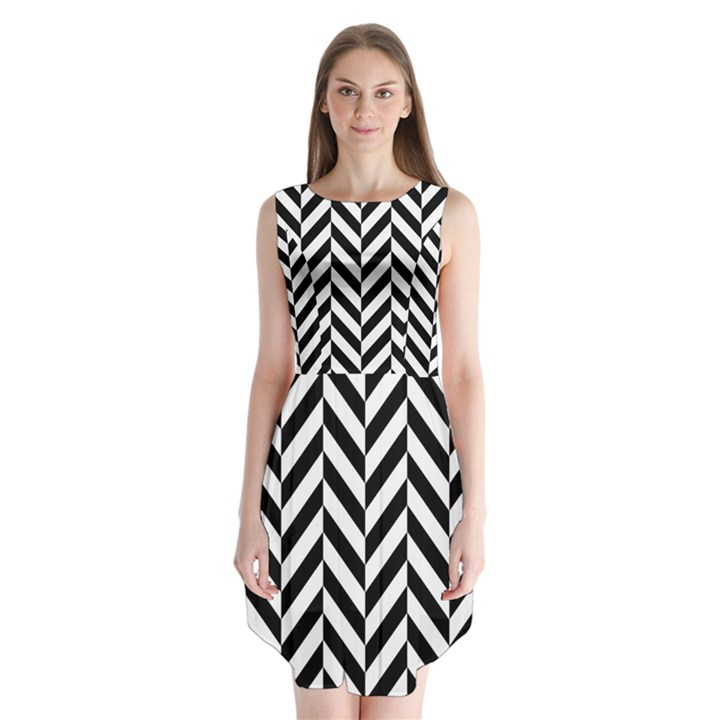 Black And White Herringbone Sleeveless Chiffon Dress