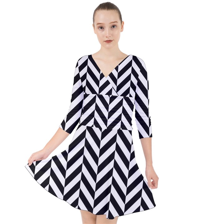 Black And White Herringbone Quarter Sleeve Front Wrap Dress