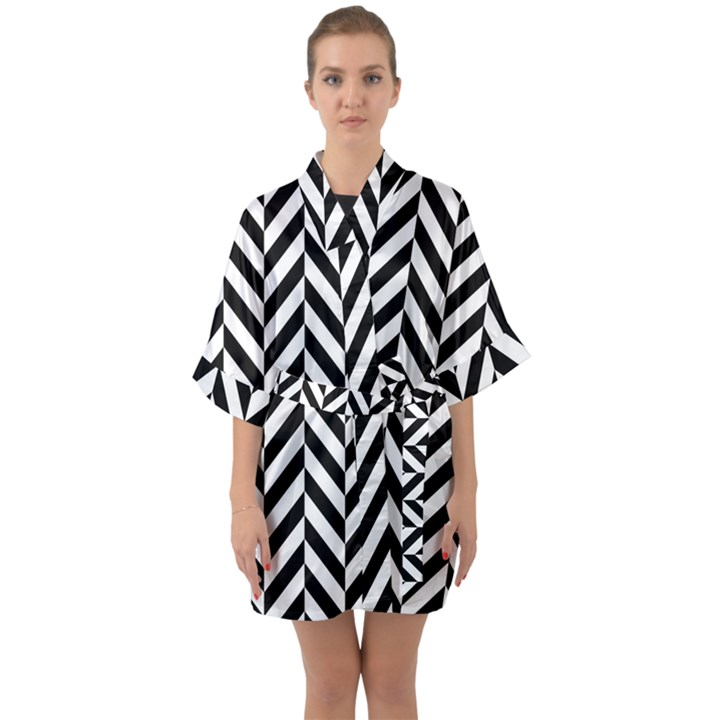 Black And White Herringbone Quarter Sleeve Kimono Robe