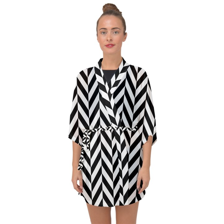 Black And White Herringbone Half Sleeve Chiffon Kimono