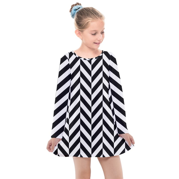 Black And White Herringbone Kids  Long Sleeve Dress