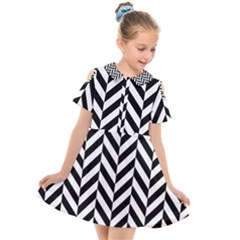 Black And White Herringbone Kids  Short Sleeve Shirt Dress